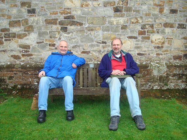 Jim Harrisson and John Barnard on the memorial bench, October 2015